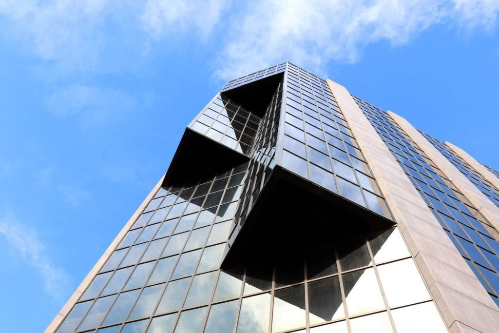 Commercial Mortgages image looking up at building with blue skies